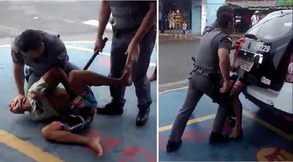 Testemunhas gravaram vídeo de policiais contendo  um jovem em frente a um supermercado na Vila Dias (Foto: Reprodução)