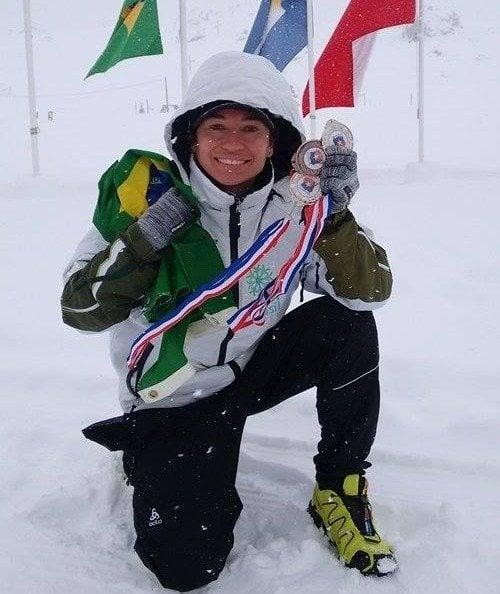 Esquiadora Mirlene Picin ganhou duas medalhas de prata e uma de bronze. (Foto: Divulgação)