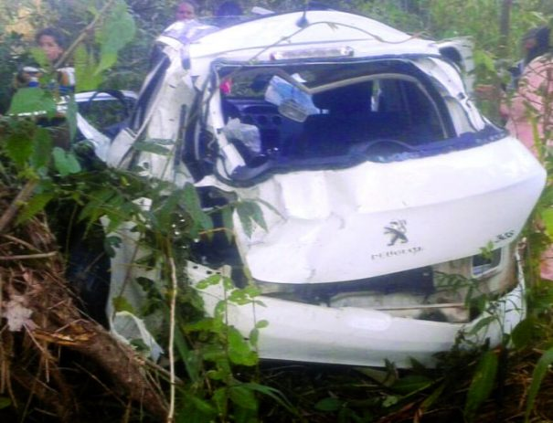 Veículo capotou e caiu em ribanceira no quilômetro 28 da Rodovia SP-147, na manhã de domingo (Foto: Divulgação)