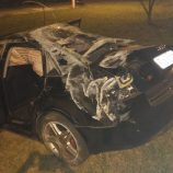 Audi se choca contra a guia, capota na Nagib Chaib e jovens se ferem