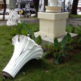 Monumento é alvo de vandalismo; caso ocorreu em praça da região central