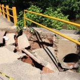 Ponte próxima da Etec cede, é interditada e recebe obra emergencial de reparo
