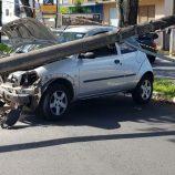 Rapaz de 19 anos sai de hospital com o carro colide com poste na Avenida 22
