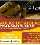 Aulas gratuitas de violão para crianças, jovens e adultos dia 20