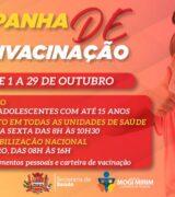 Multivacinação para crianças e adolescentes começa nesta 6ª-feira